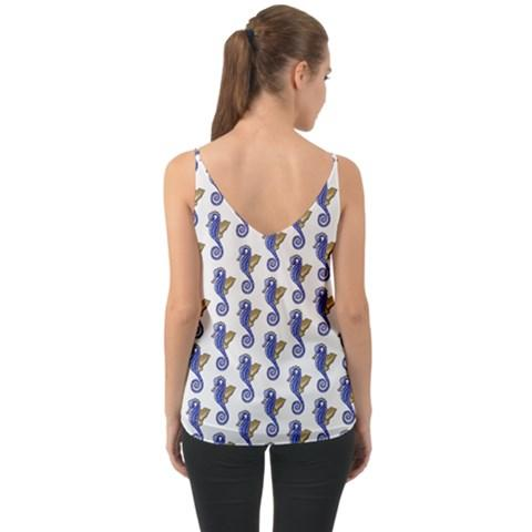 Chiffon Camisole Halter Top Seahorse Pattern