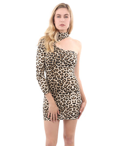 Reeves One-Sleeve Leopard Print Mini Dress