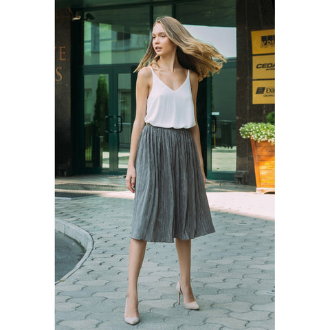 Brown plisse skirt