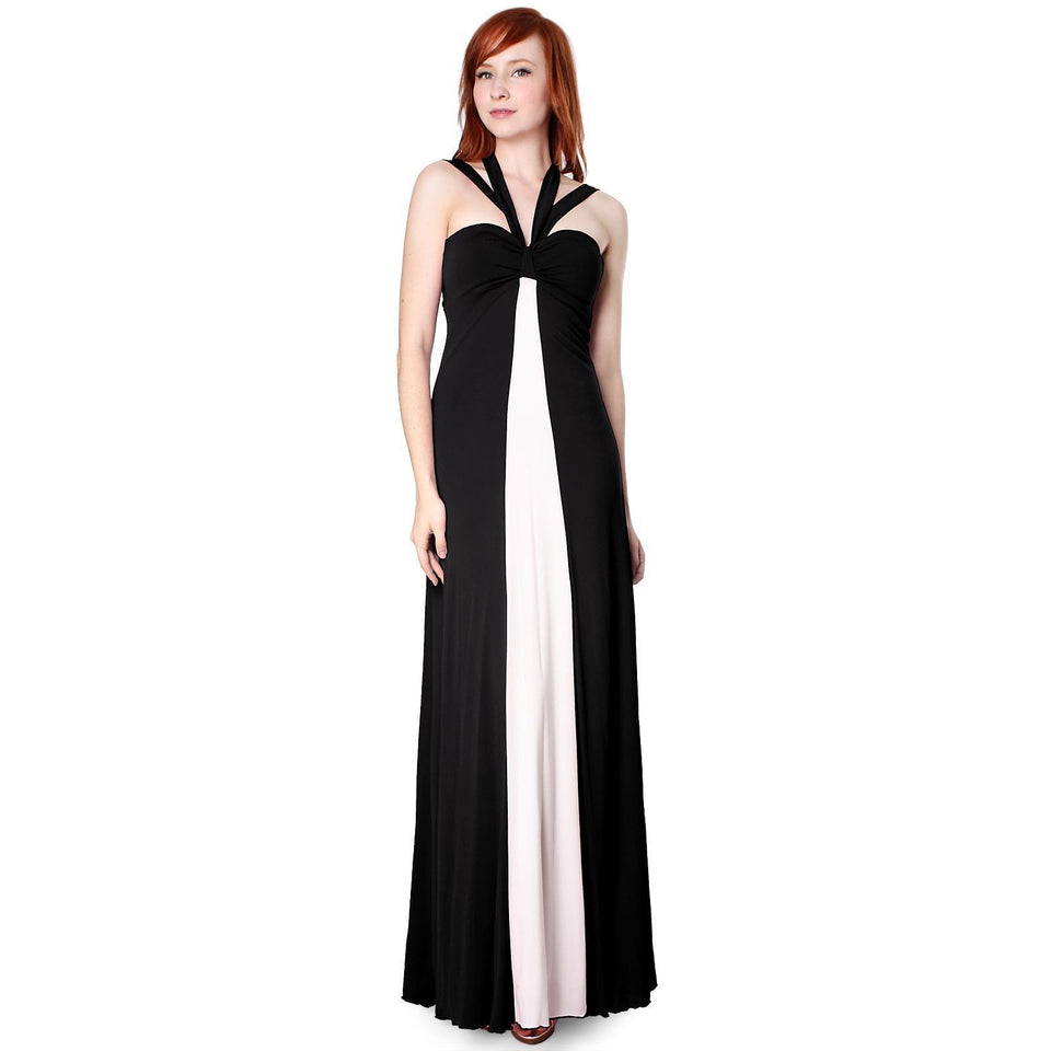 Evanese Women's Elegant Cross Tie Halter Long Formal Party Dress With Contrast