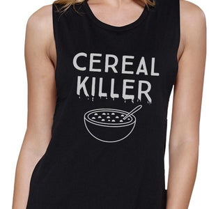 Cereal Killer Womens Black Muscle Top