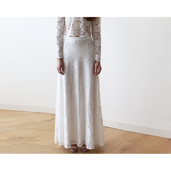 Floral Lace Bridal Maxi Skirt with long train 3026