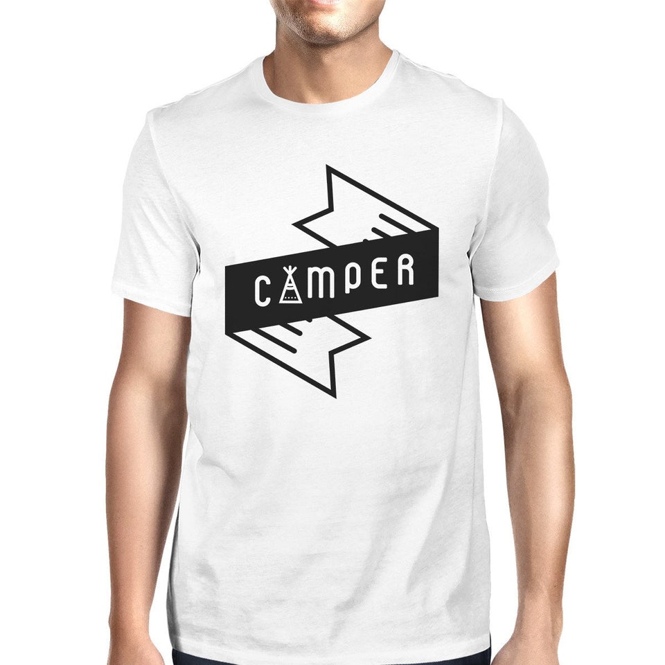 Camper Men's White Round Neck Tee Cute Graphic T Shirt for Camping