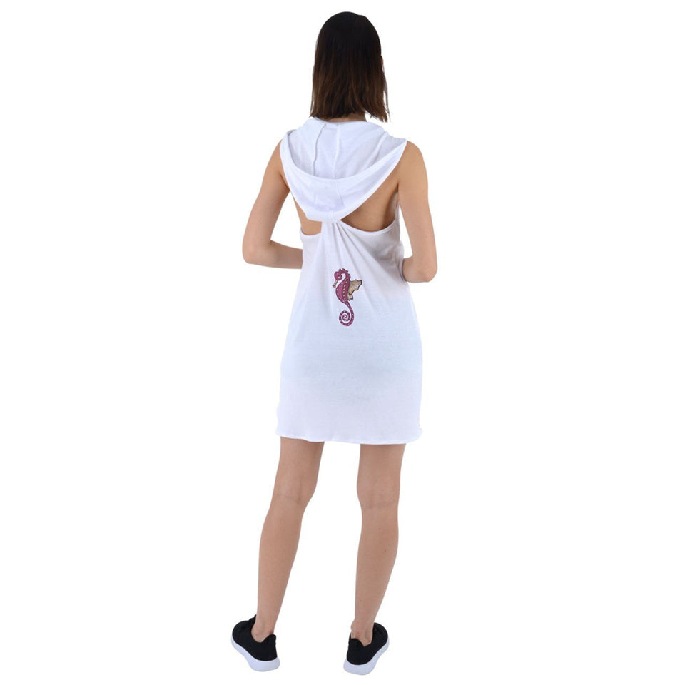 White Red Seahorse Racer Back Hoodie Dress