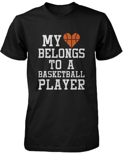 Funny Graphic Womens Black T-Shirt - My Heart Belong to a Basketball Player
