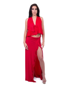 Red Sexy Top and Skirt Combination With Front Slit