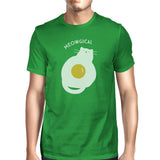 Meowgical Cat and Fried Egg Mens Green Shirt