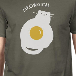 Meowgical Cat and Fried Egg Mens Dark Grey Shirt