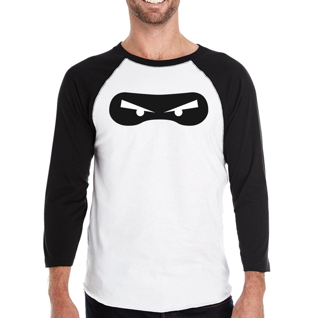 Ninja Eyes Mens Black and White BaseBall Shirt