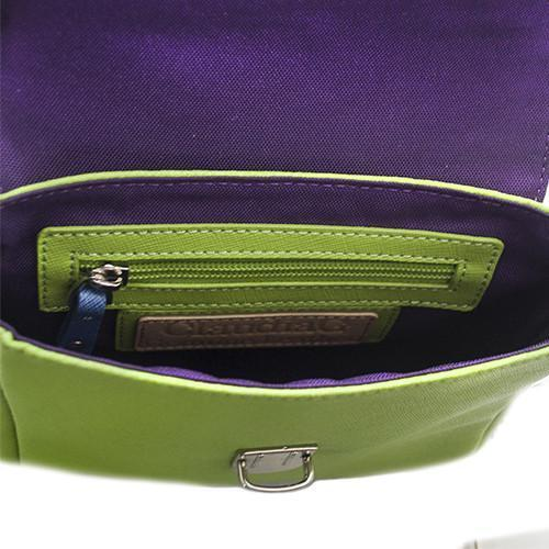 Tiny Leather Handbag -Blue/Lime (Option 1)