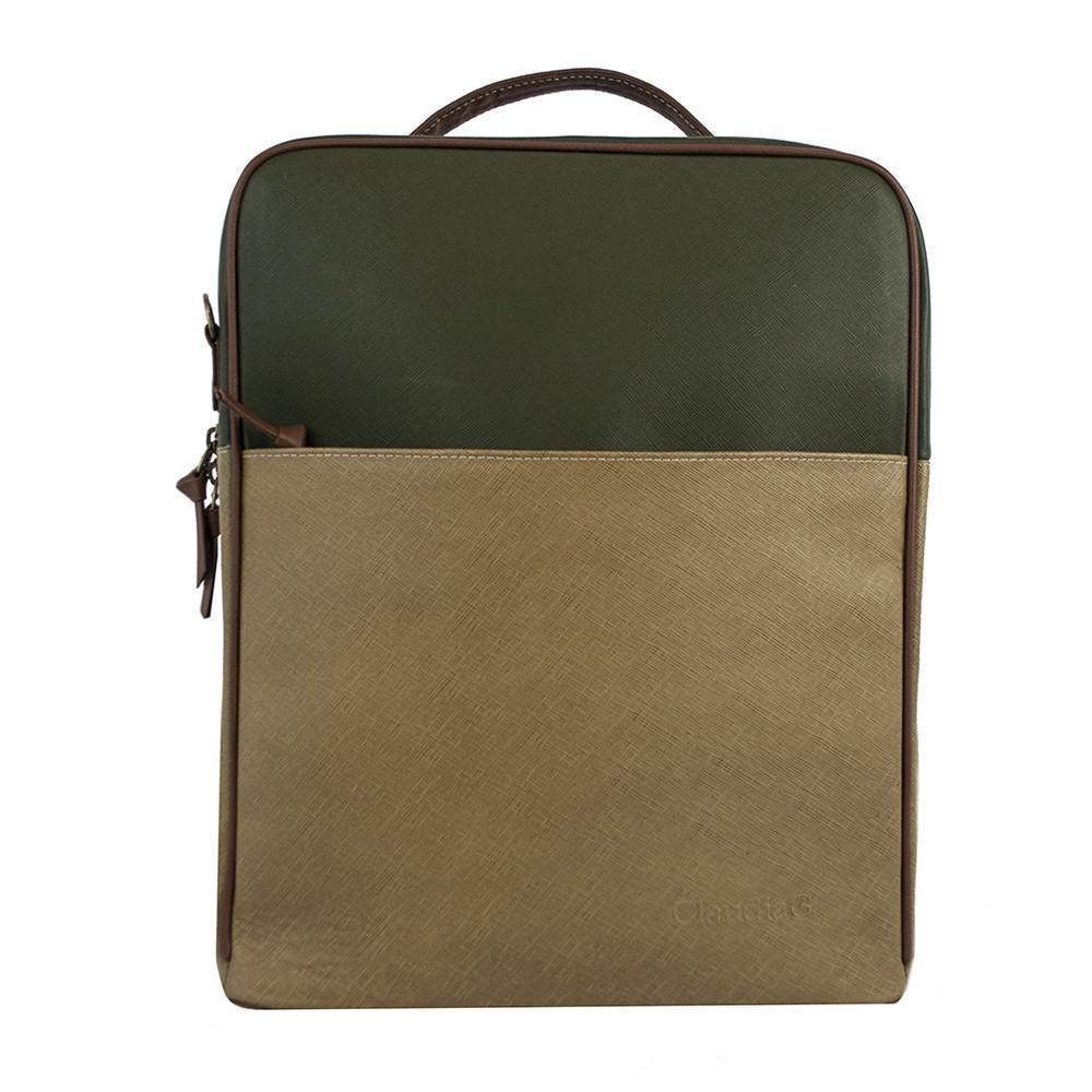 Augusta Leather Backpack-Tan/Olive Green