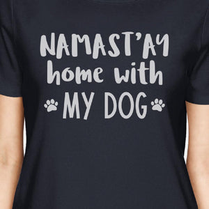 Namastay Home Women's Navy Cotton Graphic Tee Gifts for Dog Owners