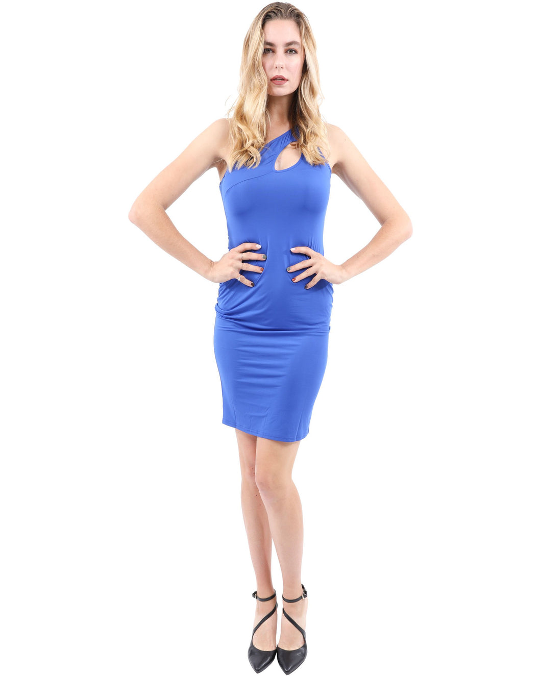 Eden Asymmetric Neckline Mini Dress - Blue