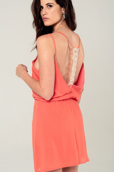 Orange mini dress with back crochet detail