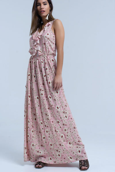 Pink floral print maxi dress with ruffle detail