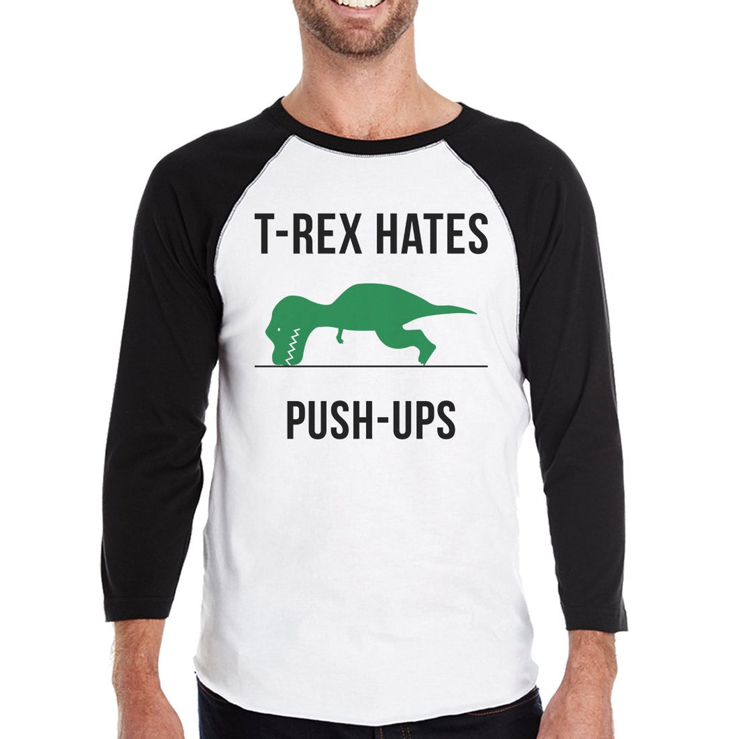 T-Rex Push Ups Mens Baseball Shirt