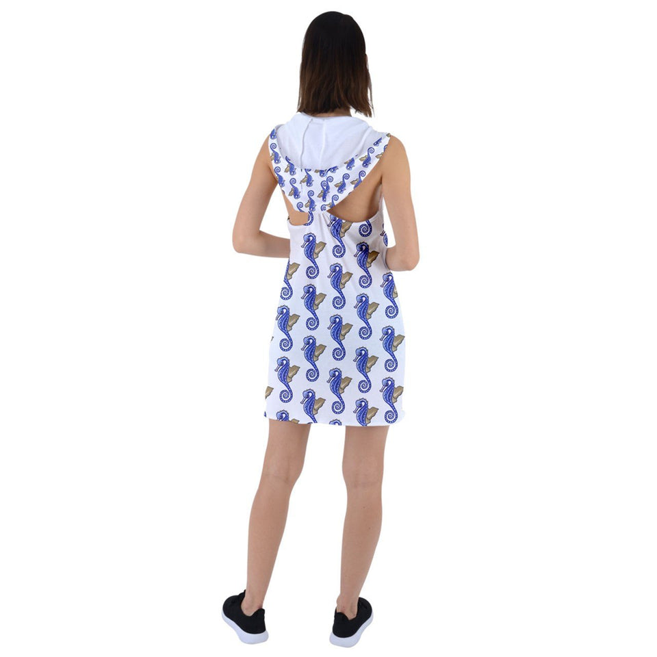 Blue Seahorses Custom Racer Back Hoodie Dress