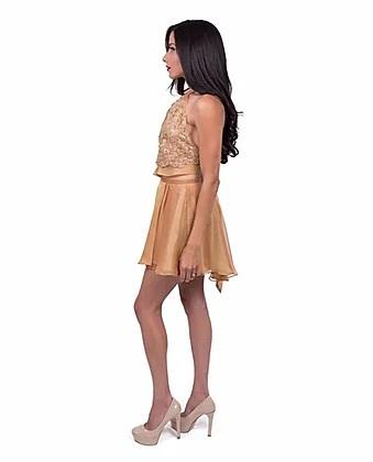 Fine Silk Top and Skirt Combination Camel