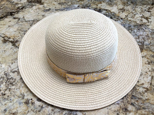 Beach Glam Natural Straw Hat With Gold Ribbon