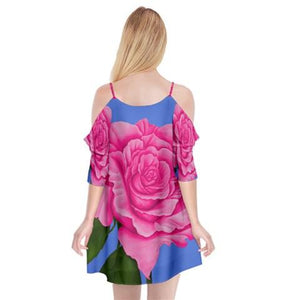 Roses Pink Dress Summer Spaghetti Strap Drop Sleeve Chiffon Dress