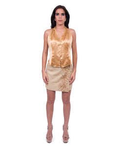 Silk Satin Skirt and Blouse Combination