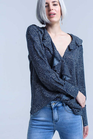 Navy polka dot shirt with ruffle detail at front