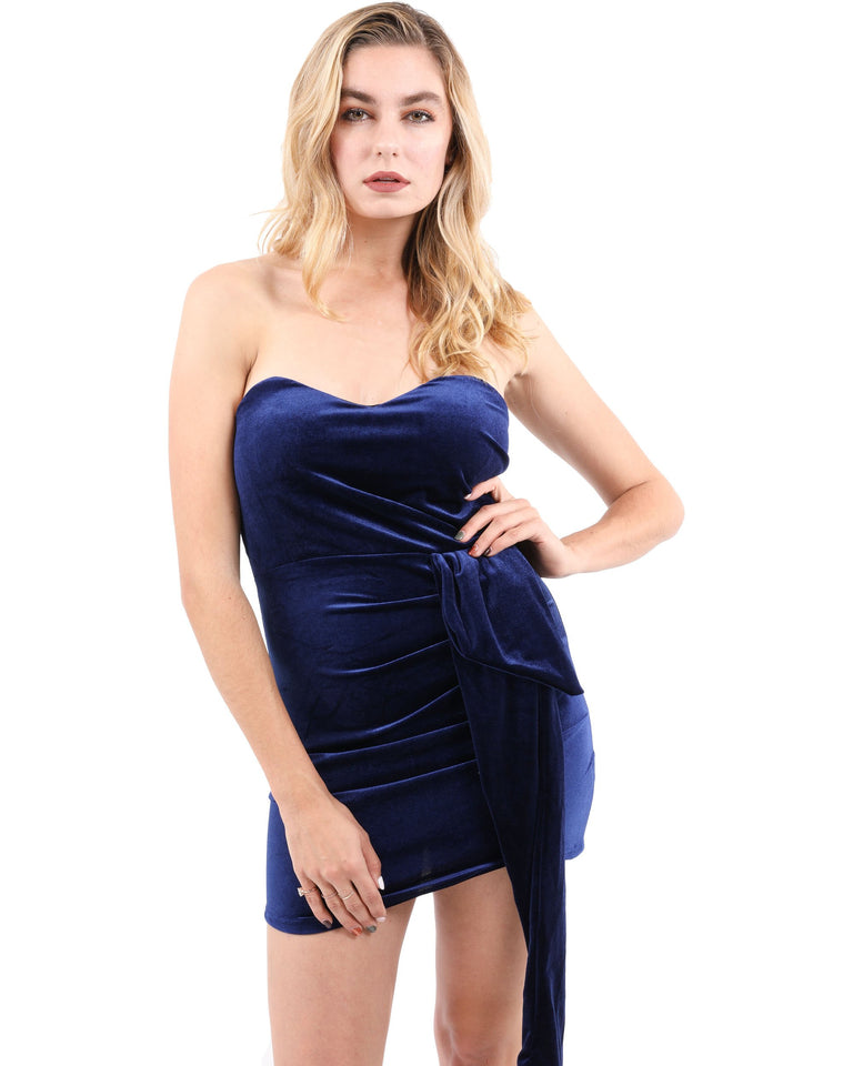 Whittier Velvet Tie-Waist Mini Dress
