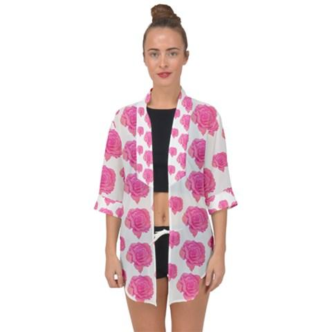 Pink Roses Open Front Chiffon Kimono for Over the Dress