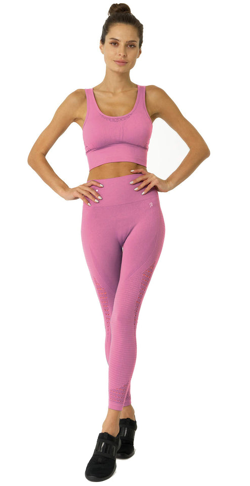 Mesh Seamless Legging With Ribbing Detail - Pink