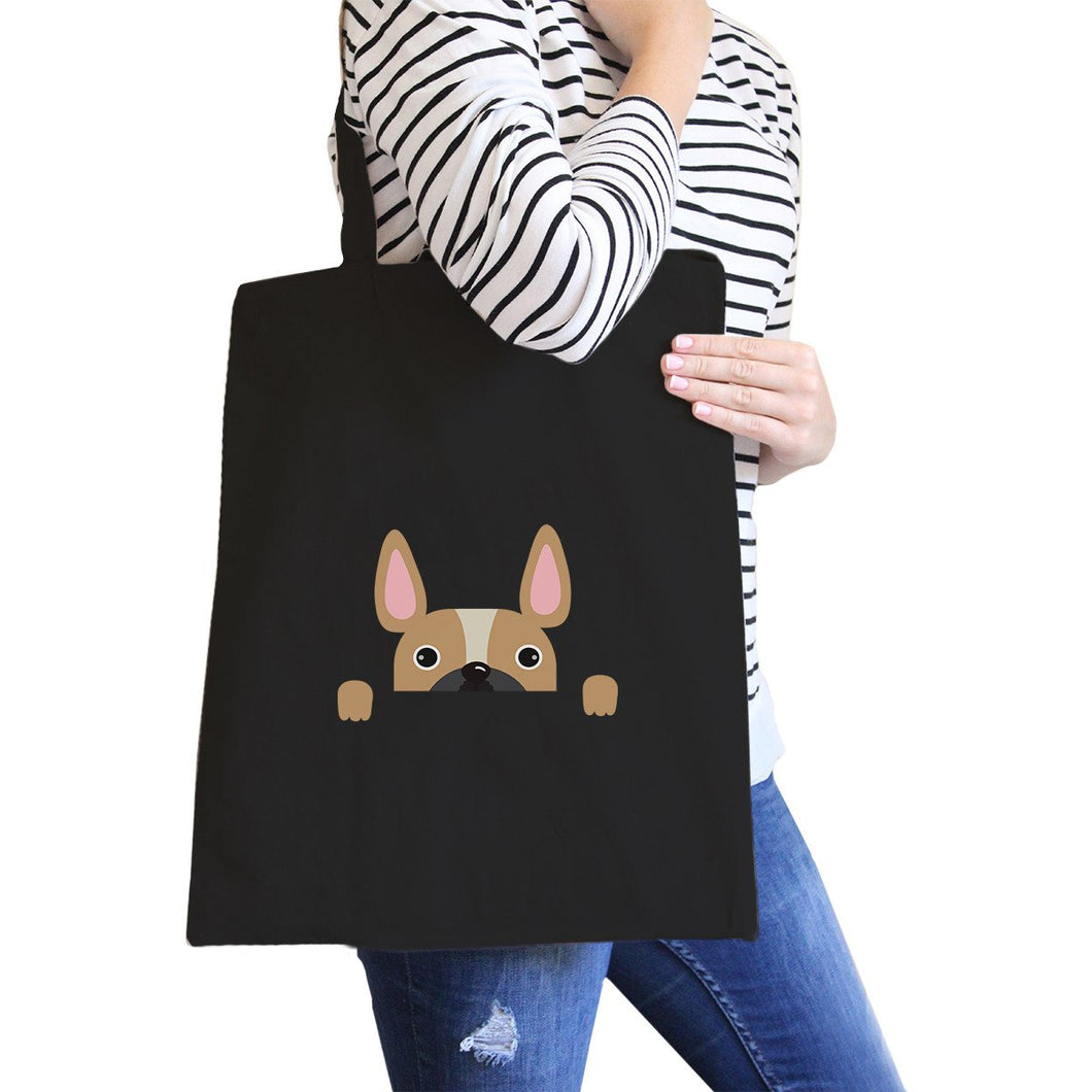 French Bulldog Peek a Boo Black Canvas Bag Gift for Dog Lovers