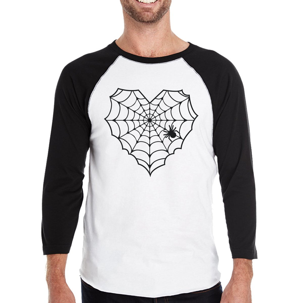 Heart Spider Web Mens Black and White Baseball Shirt