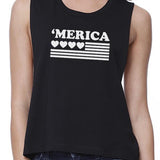 Heart 'Merica Flag Womens Black Cotton 4th of July Crop Shirt Idea