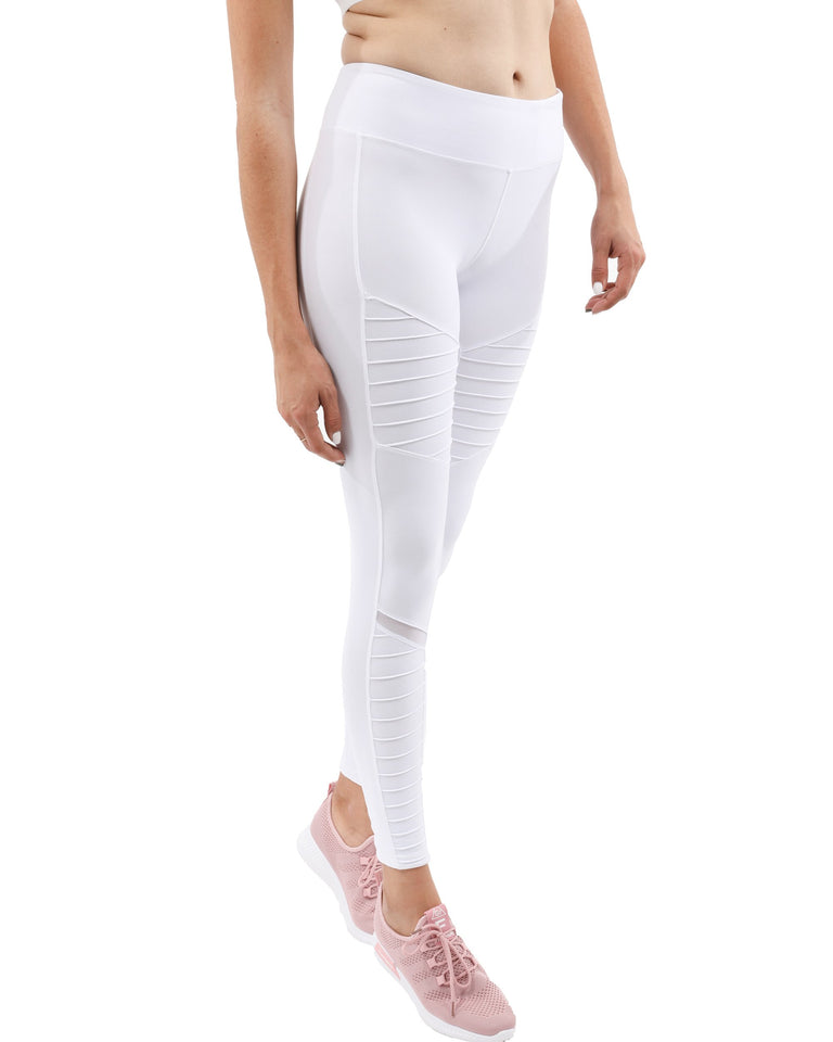 Athletique Low-Waisted Ribbed Leggings With Hidden Pocket and Mesh Panels - White