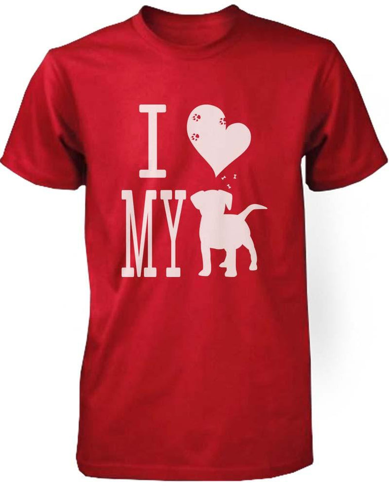 Funny Graphic Statement Womens Red T-Shirt - I Love My Dog