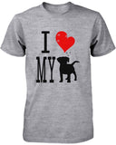 Funny Graphic Statement Womens Gray T-Shirt - I Love My Dog