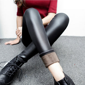 Fur Faux Leather Leggings