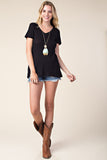 Studded Lace Up Short Sleeve