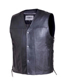 Flat Bottom Side Tie Mens Vest Single Piece Back