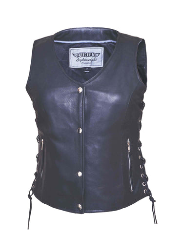 Premium Flat Bottom Traditional Side Laced Womens Leather Vest