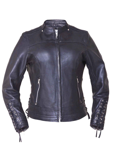 Laced Sleeve Womens Leather Jacket