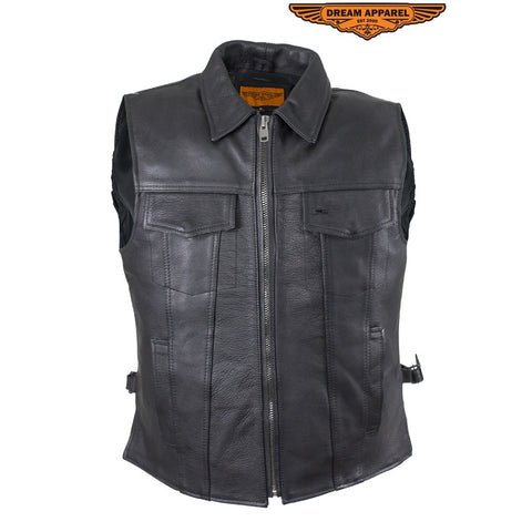 Motorcycle Club Leather Vest with snap down collar