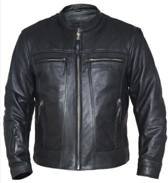 Quilted Shoulder Leather Jacket Mens