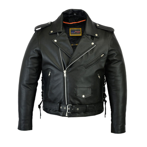 CLASSIC SIDE LACE MC LEATHER JACKET