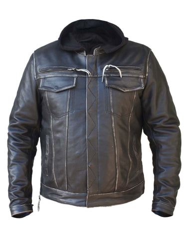 Volta Distressed Mens Leather Jacket