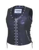 Eyelet Style Leather vest (zippered) Womens