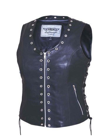 EYELET Style Premium Leather vest (zippered) Womens