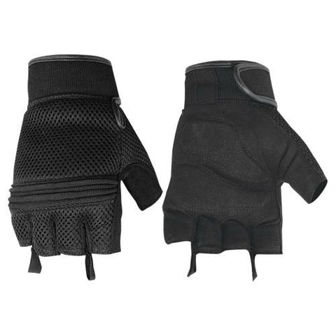 Synthetic Leather-Mesh Fingerless Glove