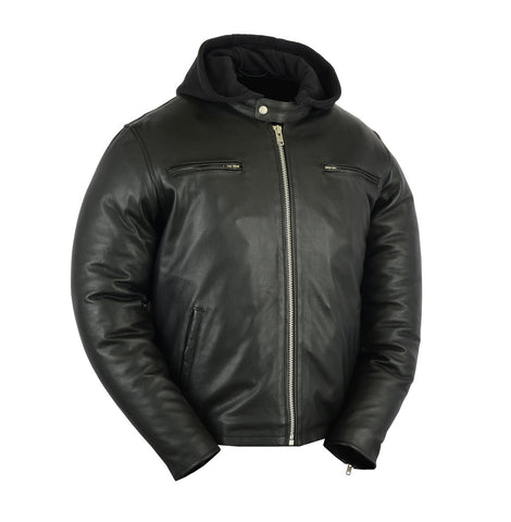 Hooded (removable) Leather Jacket Mens