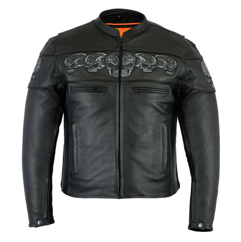 Reflective Skulls Leather Jacket Men's