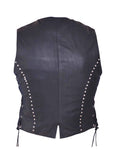 Studded Leather Side lace Vest Womens